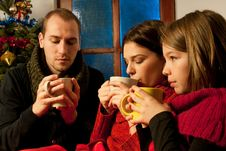 Free Young People Relaxing With Tea Royalty Free Stock Photos - 22465198