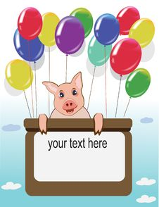 Happy Birthday Card With Funny Pig And Balloons Stock Photo