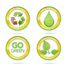 Free Green Nature Eco Emblems Set Isolated Royalty Free Stock Photos - 22467228