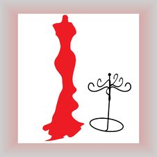 Silhouette Female Mannequin And Black Iron Hanger Royalty Free Stock Photography