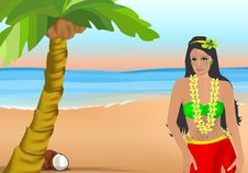 Free Coconut Girl, Cdr Vector Stock Image - 22472891