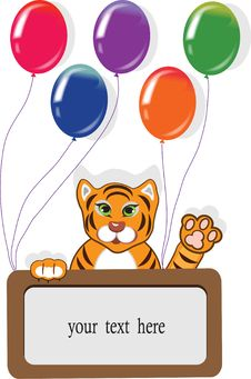 Free Happy Birthday Card With Funny Tiger And Balloons. Royalty Free Stock Photos - 22477708