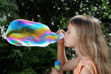 Free Blowing Soap Bubbles Royalty Free Stock Images - 22477729