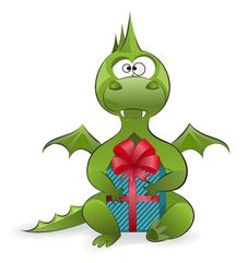 Free Dragon With A Gift Stock Photos - 22479793