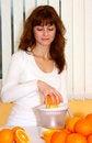 Free Woman Making Orange Juice Stock Photos - 22487693