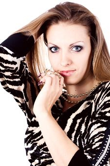 Ambition And Greed In Fashion Woman With Jewelry Stock Image