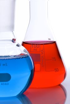 Free Blue And Red Flasks Royalty Free Stock Images - 22482239