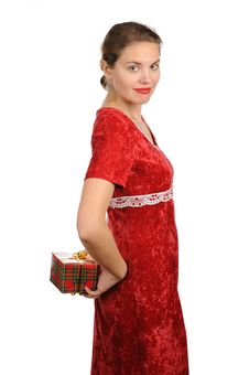 Free Woman With Gift Box Royalty Free Stock Photography - 22483357