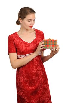 Free Woman With Gift Box Royalty Free Stock Images - 22483359