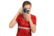 The Woman With The Camera Royalty Free Stock Photography