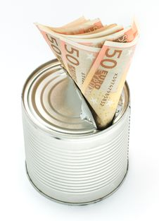 Free Tin Can To Conserve Cash Royalty Free Stock Photos - 22484558