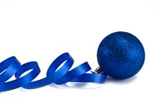 New Year S Dark Blue Sphere With A Ribbon Stock Photo
