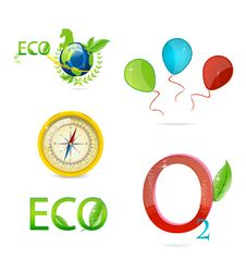 Free Green Nature And Eco Symbols Set Stock Photo - 22489720