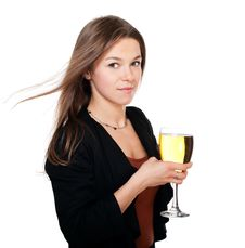 Free Woman With Glass Of Cider In Hand Royalty Free Stock Image - 22493036