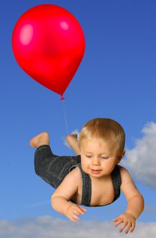 Boy With Red Balloon Royalty Free Stock Images