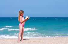 Girl At Beach Stock Photography