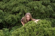 Free Cute Girl Hiding In Bushes Stock Images - 2259344