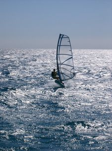 Windsurfing  On The Move Royalty Free Stock Photo