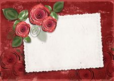 Free Valentine S Background With Card And Roses Stock Photography - 22507912
