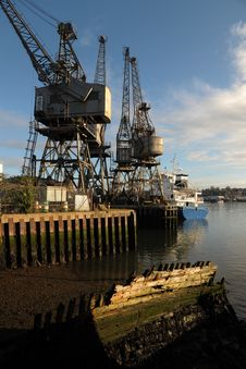 Old Harbour With Cranes Royalty Free Stock Photography