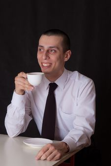 Free Laughing Businessman Drinking Coffee Stock Photos - 22508623