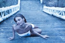 Free Fabulous Woman Lying On Icy Stairs Stock Photography - 22508632
