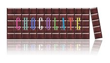 Free Chocolate Bars With Color Font, Isolated. Stock Photography - 22510102