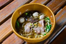 Noodles And Meat Ball Stock Images