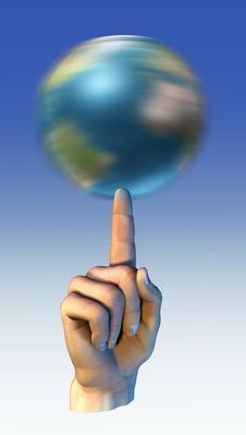 Free Earth Globe Spinning Over A Finger Stock Image - 22519241