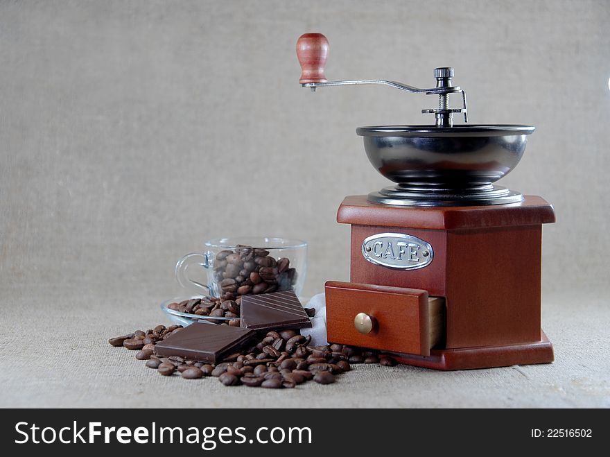A coffee wooden  grinder