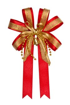 Free Gift Red Ribbon With Gold Stamping And A Bell Stock Images - 22523014