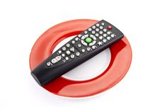 Free TV Remote Control On A Plate Royalty Free Stock Photo - 22523585