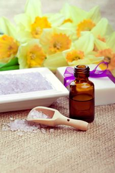 Bath Salt With Soap And Essential Oil Royalty Free Stock Photos