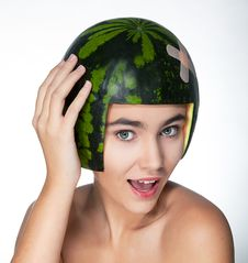 Free Funny Young Pretty Female In Helmet - Fresh Melon Royalty Free Stock Photography - 22528517