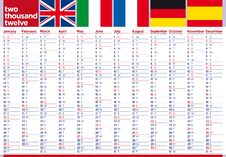 English Big Poster Calendar 2012 European Flags Royalty Free Stock Images