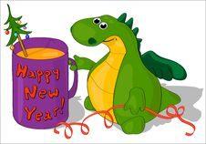 Free The Dragon With A Mug Happy New Year! Royalty Free Stock Image - 22531646