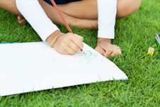 Girl Drawing Stock Photography