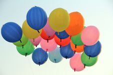 Colour Balloons On Blue Sky Royalty Free Stock Images