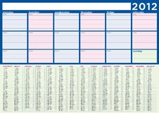 Free Planning Calendar 2012 In English Royalty Free Stock Photos - 22542978