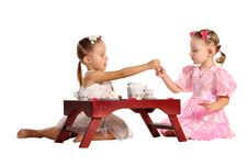 Free Pretty Twins Sisters Have Tea Isolated Royalty Free Stock Image - 22543566