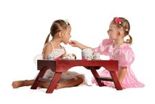 Free Pretty Twins Sisters Have Tea Isolated Stock Photos - 22543573