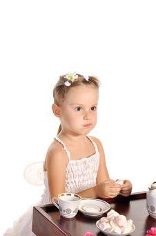 Free Nice Little Girl Having Tea  On White Stock Image - 22543581
