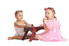 Free Pretty Twins Sisters Have Tea Isolated Royalty Free Stock Photography - 22543617