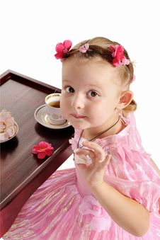 Free Nice Little Girl Having Tea  On White Royalty Free Stock Photos - 22543628