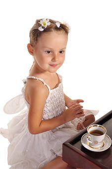 Free Nice Little Girl Having Tea  On White Royalty Free Stock Photo - 22543635