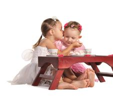 Free Pretty Twins Sisters Have Tea Isolated Stock Images - 22543644