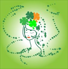 Free Portrait Beautiful Green Girl Ireland Shamrocks Stock Photography - 22546252