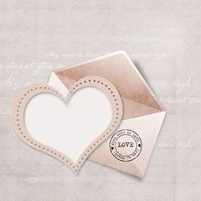 Free Greeting Card With Envelope And Heart Royalty Free Stock Images - 22547159