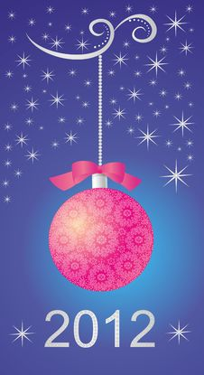 Winter Background With Red Christmas Ball Royalty Free Stock Images