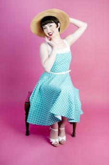 Free Pinup In Polka Dot Dress Stock Image - 22548361